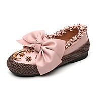 baratos Sapatos de Menina-Para Meninas Sapatos Couro / Linho Primavera & Outono Conforto / Sapatos para Daminhas de Honra Rasos Laço / Tachas para Infantil Branco / Preto / Rosa claro
