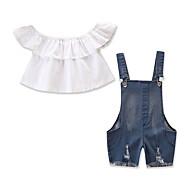 סט של בגדים קצר שרוולים קצרים מתנפנפת / ripped אחיד חגים יום יומי / פעיל בנות תִינוֹק / פעוטות