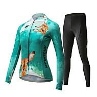 Mysenlan Dames Lange mouw Wielrenshirt met strakke wielrenbroek - Groen Fietsen Pakken Ademend 3D Pad Sneldrogend Sport Polyester Spandex Hert Bergracen Wegwielrennen Kleding