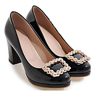 cheap -Women's Pumps Patent Leather Spring Heels Chunky Heel Black / Beige / Pink / Daily