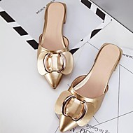preiswerte -Damen Schuhe PU Frühling / Sommer Komfort Cloggs & Pantoletten Flacher Absatz Geschlossene Spitze Gold / Schwarz / Burgund
