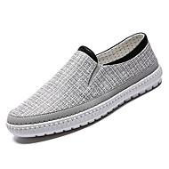 baratos Sapatos de Tamanho Pequeno-Homens Lona / Linho Verão Conforto Mocassins e Slip-Ons Estampa Colorida Bege / Cinzento / Azul