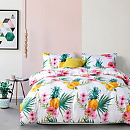 billige Blomstrete dynetrekk-Sengesett Blomstret Polyester Reaktivt Trykk 3 deler