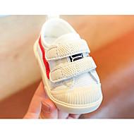baratos Sapatos de Menina-Para Meninas Sapatos Com Transparência Primavera & Outono Primeiros Passos Tênis Velcro para Bebê Branco / Estampa Colorida