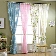baratos Cortinas Transparentes-Sheer Curtains Shades Sala de Estar Floral 100% Poliéster Bordado