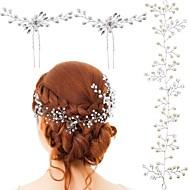 Κρύσταλλο / Απομίμηση Μαργαριταριού Αλυσίδα κεφαλής με Κορδόνια 3 Κομμάτια Γάμου / Ειδική Περίσταση Headpiece
