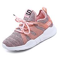 billige Træningssko til damer-Dame Sko Net Sommer Komfort Sportssko Gang Flade hæle Rund Tå Sort / Grå / Lys pink