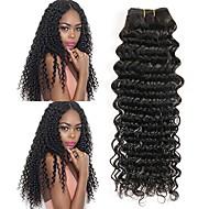 4 pakker Brasiliansk hår Dyp Bølge Ubehandlet hår Ubehandlet Menneskehår Menneskehår Vevet En Pack Solution Hairextensions med menneskehår 8-28 tommers Naturlig Farge Hårvever med menneskehår Ny