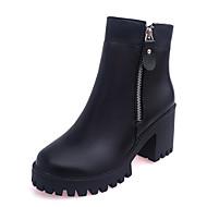 Χαμηλού Κόστους Γυναικείες Μπότες-Γυναικεία Fashion Boots PU Φθινόπωρο Καθημερινό Μπότες Κοντόχοντρο Τακούνι Στρογγυλή Μύτη Μποτίνια Μαύρο