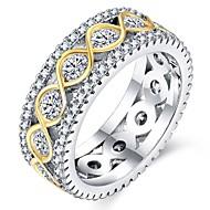 Dame Stilfuldt / Crossover Band Ring - 18K Guldbelagt, Platin Belagt, Simuleret diamant Uendelighed, Bølge Klassisk, Europæisk 6 / 7 / 8 Sølv Til Fest / Ceremoni
