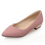 baratos Sapatos Femininos-Mulheres Sapatos Pêlo Sintético Primavera / Verão Conforto Rasos Salto de bloco Dedo Fechado Cinzento / Rosa claro / Amêndoa