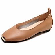 tanie Obuwie damskie-Damskie Komfortowe buty PU Lato Buty płaskie Płaski obcas Plac Toe Czarny / Beżowy / Migdałowy