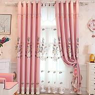 baratos Cortinas Transparentes-Sheer Curtains Shades Quarto Sólido Algodão / Poliéster Bordado