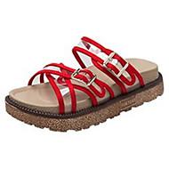 baratos Sapatos Femininos-Mulheres Sapatos Couro Ecológico Primavera Verão Chanel Sandálias Creepers Branco / Preto / Vermelho