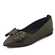 baratos Sapatos Femininos-Mulheres Sapatos Couro Ecológico Primavera Verão Conforto Rasos Sem Salto Dedo Apontado Laço Preto / Verde / Castanho Escuro