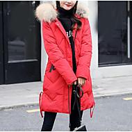 Dame I-byen-tøj Lang Anorak - Ensfarvet Hætte