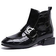 Damen Fashion Boots PU Herbst Freizeit Stiefel Niedriger Heel Booties / Stiefeletten Schwarz