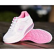 Žene Udobne cipele Koža / Mrežica Proljeće & Jesen Ležerne prilike / Stil preppy Sneakers Ravna potpetica Okrugli Toe Crvena / Fuksija / Pink And White