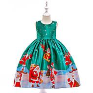 Παιδιά / Νήπιο Κοριτσίστικα Βίντατζ / Ενεργό Χριστούγεννα / Πάρτι / Αργίες Κινούμενα σχέδια Αμάνικο Ως το Γόνατο Φόρεμα Πράσινο του τριφυλλιού