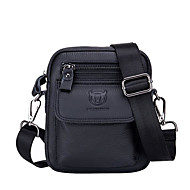 Men's Bags Cowhide Shoulder Bag Zipper Solid Color Black / Coffee