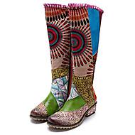 baratos Sapatos Femininos-Mulheres Sapatos Confortáveis Pele Napa Outono & inverno Vintage Botas Salto Robusto Botas Cano Alto Rendado Verde