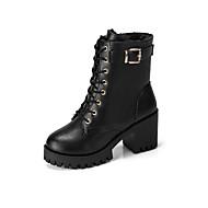 cheap -Women's Fashion Boots PU(Polyurethane) Fall Casual Boots Chunky Heel Round Toe Mid-Calf Boots Black