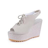Χαμηλού Κόστους Γυναικεία Παπούτσια-Γυναικεία Πλατφόρμες με Φελό Σουέτ Ανοιξη καλοκαίρι Μινιμαλισμός Σανδάλια Περπάτημα Τακούνι Σφήνα Ανοικτή Μύτη Μαύρο / Μπεζ / Βυσσινί