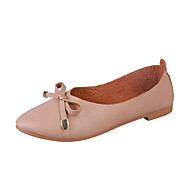 baratos Sapatos Femininos-Mulheres Sapatos Confortáveis Couro Ecológico Outono Minimalismo Rasos Sem Salto Laço Branco / Bege / Castanho Claro