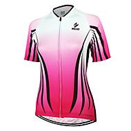 Arsuxeo Femme Manches Courtes Maillot Velo Cyclisme - Rose Rayure Cyclisme Maillot Hauts / Top Respirable Séchage rapide Design Anatomique Des sports 100 % Polyester VTT Vélo tout terrain Vélo Route
