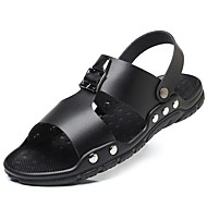 tanie Small Size Shoes-Męskie Komfortowe buty Sztuczna skóra Wiosna i lato Sandały Czarny / Żółty / Niebieski