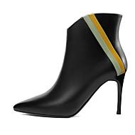 baratos Sapatos Femininos-Mulheres Curta/Ankle Pele Napa Outono Saltos Salto Agulha Dedo Apontado Botas Curtas / Ankle Flor de Cetim Preto / Bege
