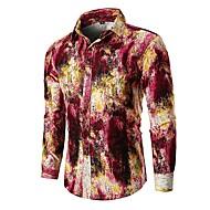 קולור בלוק בסיסי כותנה, חולצה - בגדי ריקוד גברים פול XL / שרוול ארוך