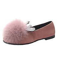 tanie Obuwie damskie-Damskie Komfortowe buty PU Jesień Casual Buty płaskie Płaski obcas Pom-pom Czarny / Fioletowy / Brązowy