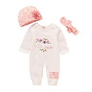 Baby Pige Aktiv / Basale Trykt mønster Langærmet Bomuld / Polyester En del Hvid 100