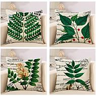 4 Pcs Cotton Linen Modern Contemporary Pillow Case Fl Botanical Leaf Nature Inspired Past