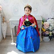 子供 / 幼児 女の子 活発的 / 甘い パーティー / 祝日 パッチワーク 長袖 ミディ ドレス ブルー