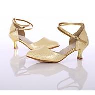 billige Moderne sko-Dame Moderne sko PU Høye hæler MiniSpot / Tvinning Kubansk hæl Kan spesialtilpasses Dansesko Gull