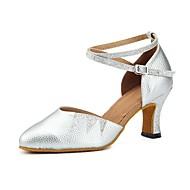 billige Kustomiserte dansesko-Dame Moderne sko PU Sandaler / Høye hæler Glimmer / Tvinning Utsvingende hæl Kan spesialtilpasses Dansesko Sølv