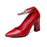 baratos Sapatos Femininos-Mulheres Stiletto Pele Napa Outono Saltos Salto Robusto Preto / Vermelho / Amêndoa