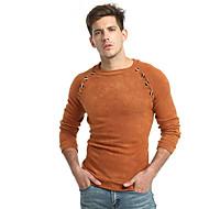 남성용 일상 베이직 솔리드 긴 소매 슬림 보통 풀오버, 라운드 넥 가을 다크 그레이 / 카멜 XL / XXL / XXXL
