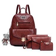 Women's Bags PU(Polyurethane) Bag Set 4 Pieces Purse Set Bear / Zipper Solid Color Red / Gray / Brown