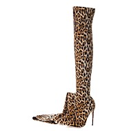 baratos Sapatos Femininos-Mulheres Fashion Boots Tecido elástico Outono & inverno Vintage Botas Salto Agulha Dedo Apontado Carregadores coxa-alta Estampa Animal Leopardo / Casamento / Festas & Noite
