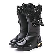 baratos Sapatos de Menina-Para Meninas Sapatos Couro Sintético / Couro Ecológico Primavera Verão Conforto / Botas da Moda Botas Caminhada Laço / Rendado / Ziper para Infantil Preto / Vermelho / Vinho / Botas Cano Médio