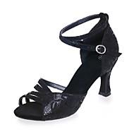 Γυναικεία Παπούτσια χορού λάτιν Σουέτ Πέδιλα Αγκράφα Τακούνι καμπάνα Παπούτσια Χορού Μαύρο / Καφέ / Μαύρο και Χρυσό