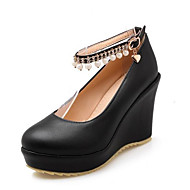 baratos Sapatos Femininos-Mulheres Sapatos Confortáveis Couro Ecológico Primavera Saltos Salto Plataforma Preto