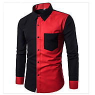 Men's Active / Basic Cotton Shirt - Solid Colored / Color Block / Long Sleeve