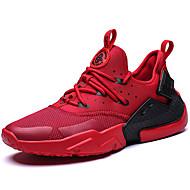 baratos Sapatos Masculinos-Homens Sapatos Confortáveis Tricô / Tecido elástico Primavera Esportivo / Colegial Tênis Corrida Massgem Branco / Preto / Vermelho