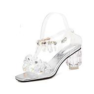 Pentru femei Pantofi de confort Sintetice Vară Sandale Heteltipic călcâi Argintiu / Roz / Nuntă