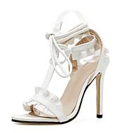 baratos Sapatos Femininos-Mulheres Stiletto Couro Ecológico Verão Doce Sandálias Salto Agulha Dedo Aberto Rendado Branco