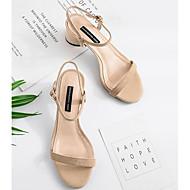 baratos Sapatos Femininos-Mulheres Sapatos Confortáveis Camurça Verão Sandálias Salto Robusto Preto / Rosa claro / Amêndoa